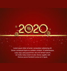 Happy new year 2020 golden number with snowflake vector