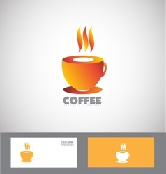 Hot coffee cup logo vector
