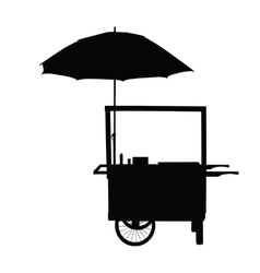 Hot dog trolley wheel with umbrella silhouette vector