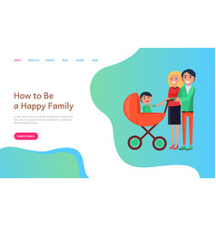 How to be happy family website info with people vector
