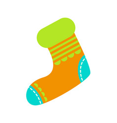 Knitted bright christmas sock to hang on fireplace vector