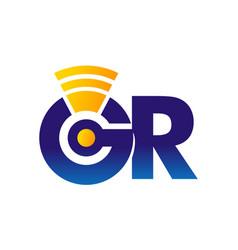 Letter gr modern telecommunication vector