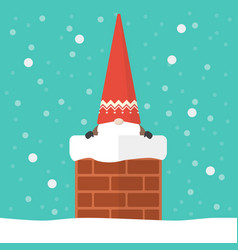 little santa claus in chimney vector image