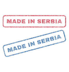 made in serbia textile stamps vector image