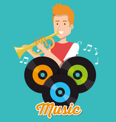 Man playing trumpet with vinyl disks vector