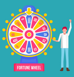 man stand near fortune wheel happy winner game vector image