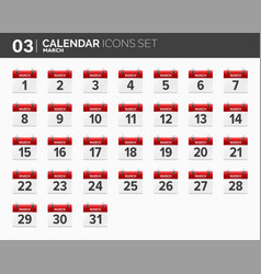 march calendar icons set date and time 2018 vector image