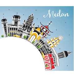 Medan indonesia city skyline with color buildings vector