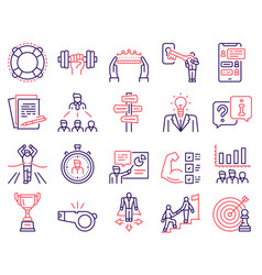 mentoring linear color icon set coaching sport vector image