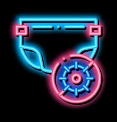 Microbe diaper neon glow icon vector