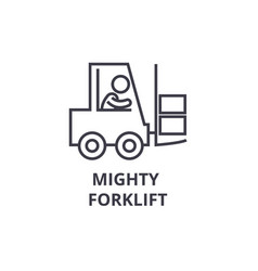Mighty forklift thin line icon sign symbol vector