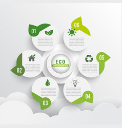 modern green ecology design layout infographics 6 vector image