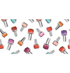 nail polish bottle seamless pattern beauty salon vector image