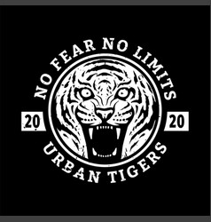 no fears no limits tiger t-shirt design on a vector image