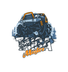 Off-road vehicle with name master taiga vector