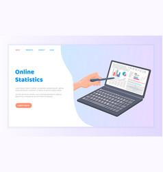 online statistics business info on laptop screen vector image