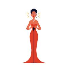 opera or jazz concert female singer flat vector image