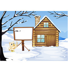 Owl and hut in the snow vector