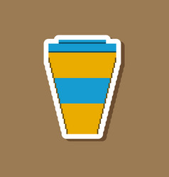 Paper sticker on stylish background coffee to go vector