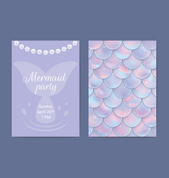 party invitation holographic fish or mermaid vector image