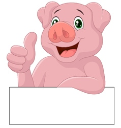 Pig giving thumb up vector image