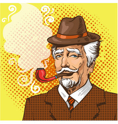 pop art elderly man smoking vector image