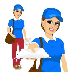 Post woman delivering mail vector