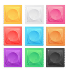 Realistic 3d detailed color condoms package set vector