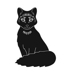 Red foxanimals single icon in black style vector