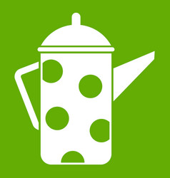 retro coffee kettle icon green vector image