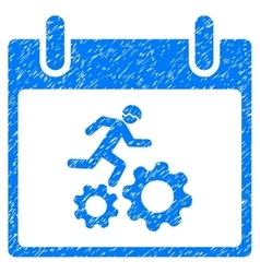 Running Worker Calendar Day Grainy Texture Icon vector