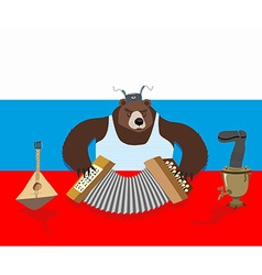 Russian bear plays accordion Russian flag Samovar vector image