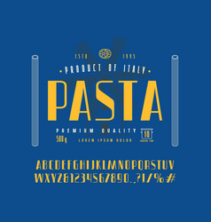 Sans serif font in retro style and pasta label vector