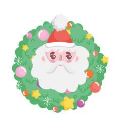 santa face wreath balls merry christmas vector image