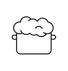 Saucepan with raw puffed dough linear icon of vector