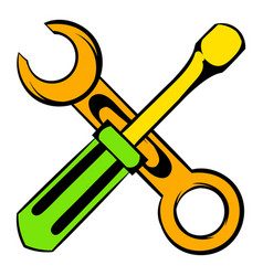 Screwdriver and spanner icon cartoon vector