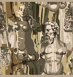 Seamless pattern ancient statues a muscular vector