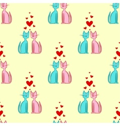 seamless pattern romantic couple cats vector image