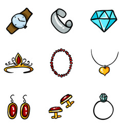 Set color cartoon doodle jewelry icons vector