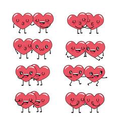 set kawaii hearts couple character together vector image