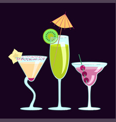 set of exotic alcoholic cocktails vector image