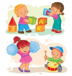 Set of icons little children playing with vector
