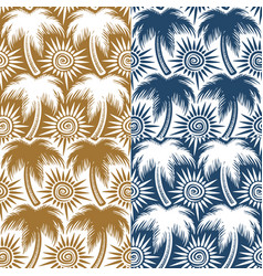 Set of seamless patterns with palm trees and sun vector