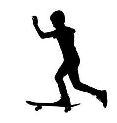 Set of skateboarders silhouette vector image
