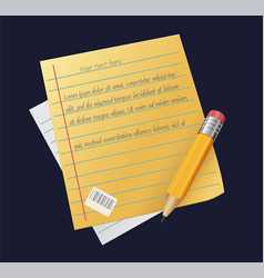 sheet of paper with pencil writing copywriting vector image