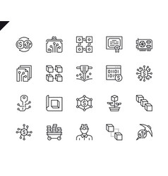 simple set cryptocurrency line icons vector image
