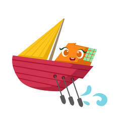 small sailing yacht with paddles set cute girly vector image