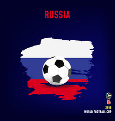 soccer ball on flag of russia made of brush vector image