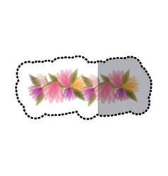 Sticker blurred crown of bud flowers with leaves vector
