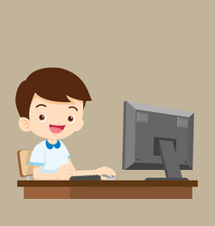 Student boy working with computer vector